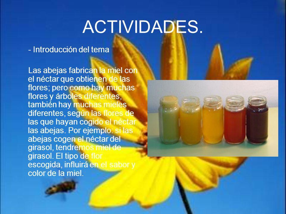 ACTIVIDADES. - Introducción del tema Las abejas fabrican la miel con el néctar que obtienen de las flores; pero como hay muchas flores y árboles difer