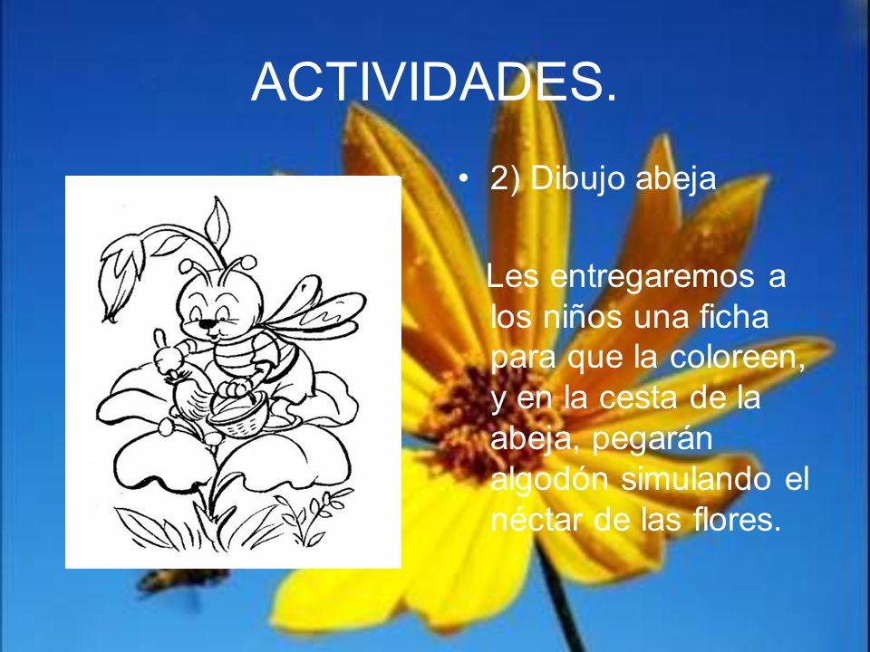 ACTIVIDADES. 2) Dibujo abeja Les entregaremos a los niños una ficha para que la coloreen, y en la cesta de la abeja, pegarán algodón simulando el néct