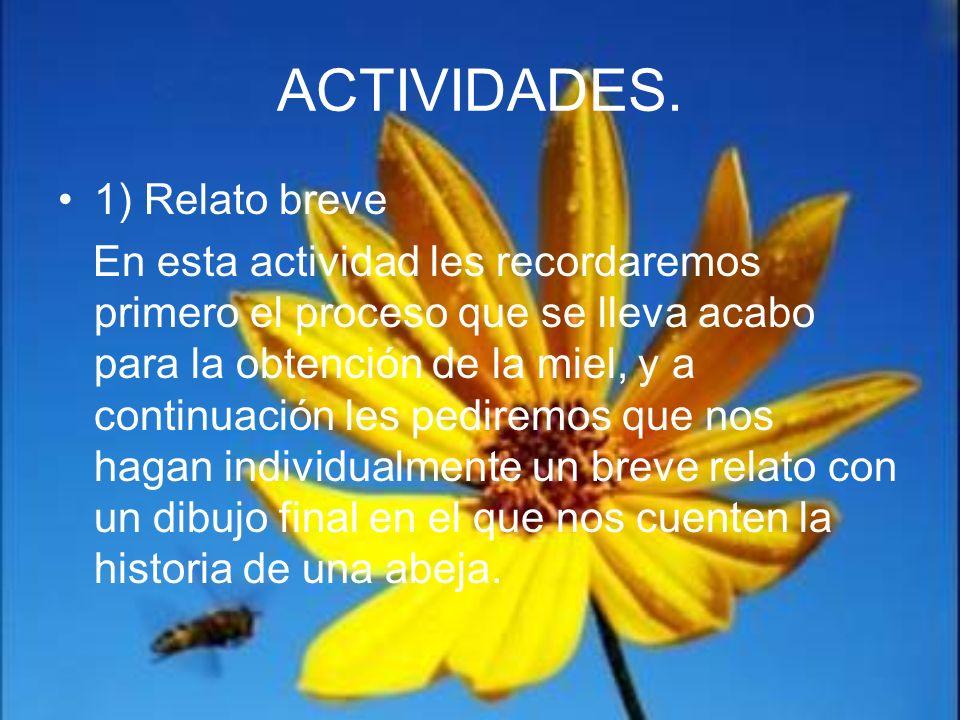 ACTIVIDADES. 1) Relato breve En esta actividad les recordaremos primero el proceso que se lleva acabo para la obtención de la miel, y a continuación l