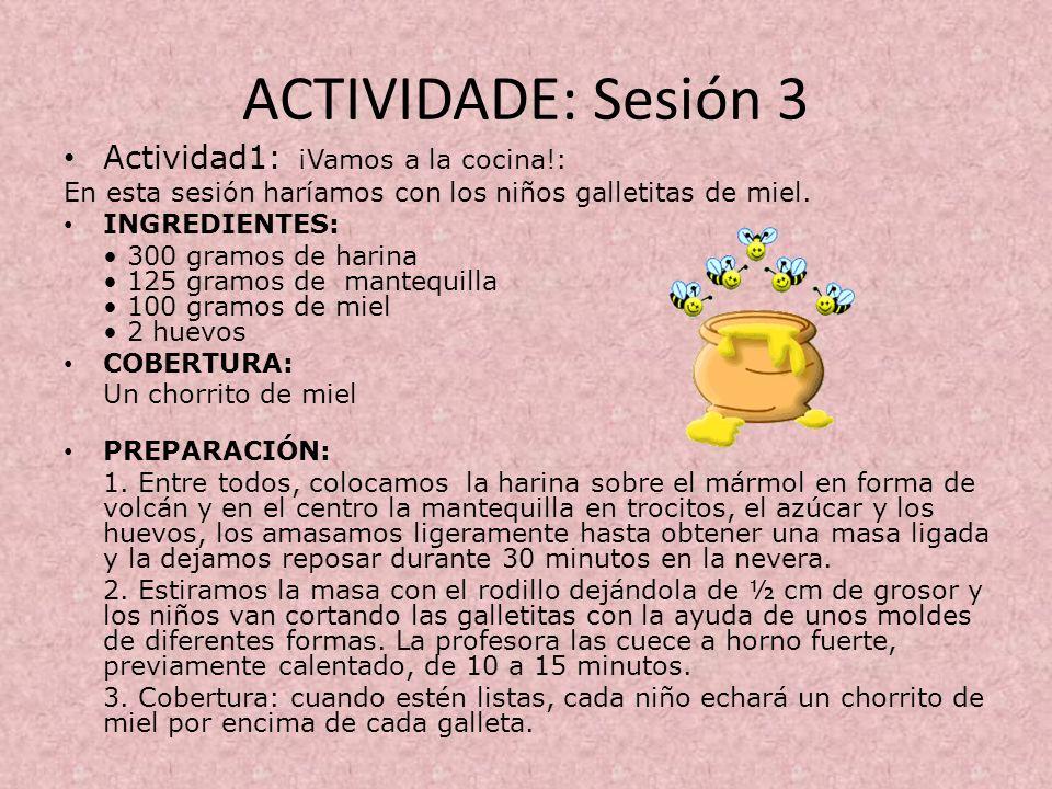 ACTIVIDADE: Sesión 3 Actividad1: ¡Vamos a la cocina!: En esta sesión haríamos con los niños galletitas de miel. INGREDIENTES: 300 gramos de harina 125