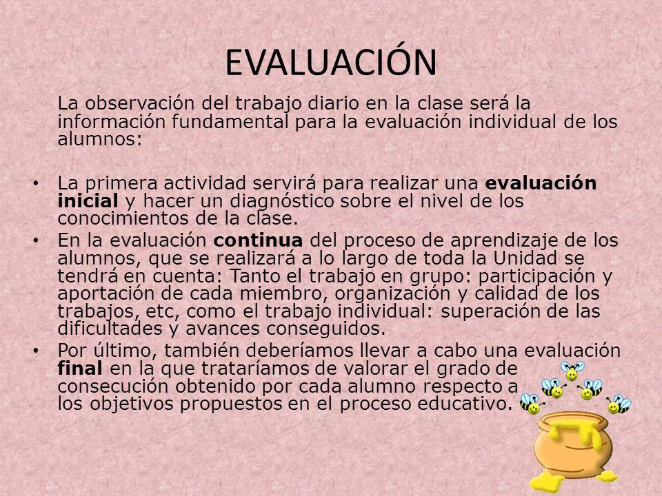 EVALUACIÓN La observación del trabajo diario en la clase será la información fundamental para la evaluación individual de los alumnos: La primera acti