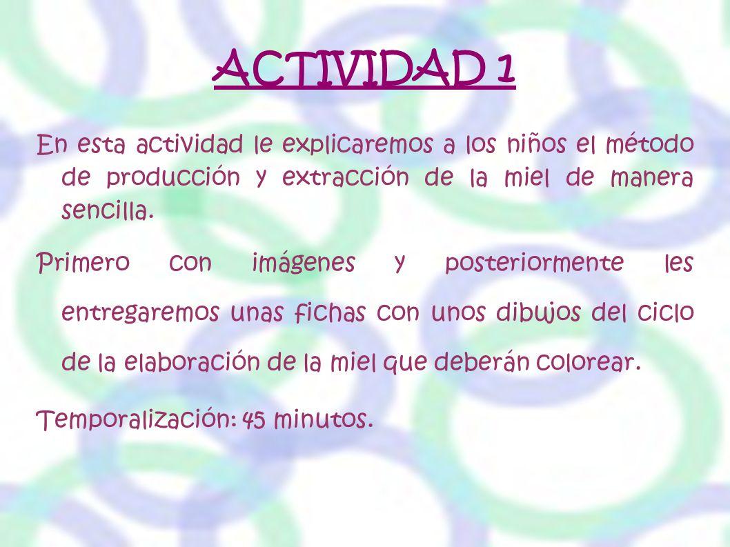 ACTIVIDAD 1 En esta actividad le explicaremos a los niños el método de producción y extracción de la miel de manera sencilla. Primero con imágenes y p