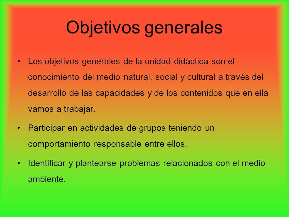 Objetivos generales Los objetivos generales de la unidad didáctica son el conocimiento del medio natural, social y cultural a través del desarrollo de