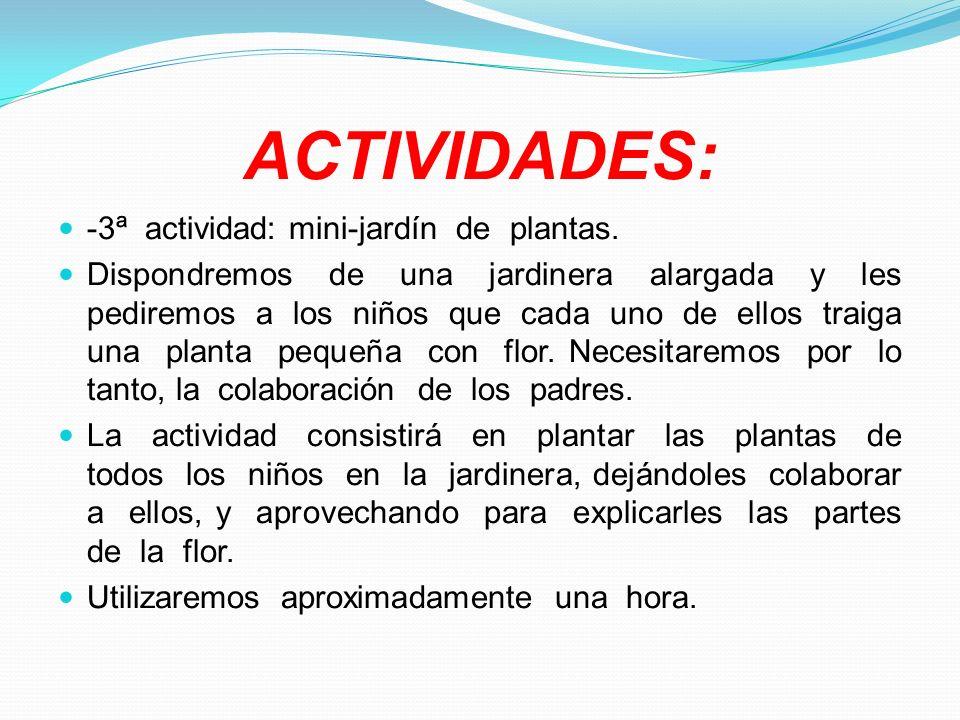 ACTIVIDADES: -3ª actividad: mini-jardín de plantas. Dispondremos de una jardinera alargada y les pediremos a los niños que cada uno de ellos traiga un