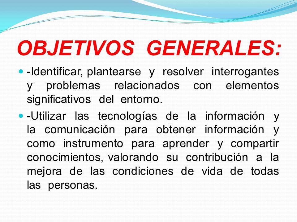 OBJETIVOS GENERALES: -Identificar, plantearse y resolver interrogantes y problemas relacionados con elementos significativos del entorno. -Utilizar la