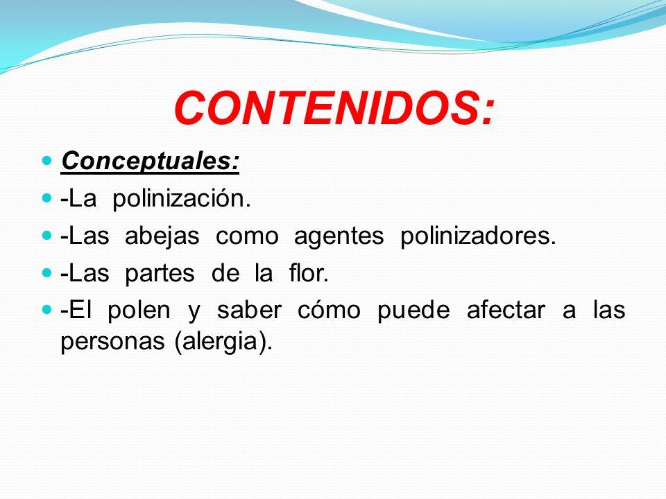 CONTENIDOS: Procedimentales: -Visionado de video sobre la polinización.