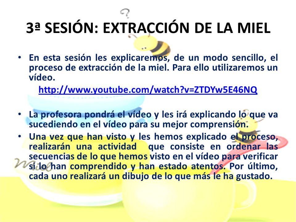 3ª SESIÓN: EXTRACCIÓN DE LA MIEL En esta sesión les explicaremos, de un modo sencillo, el proceso de extracción de la miel. Para ello utilizaremos un