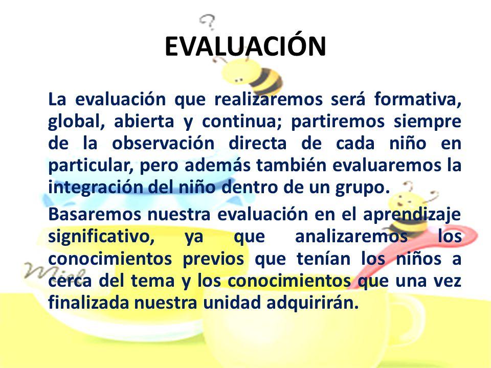 EVALUACIÓN La evaluación que realizaremos será formativa, global, abierta y continua; partiremos siempre de la observación directa de cada niño en par
