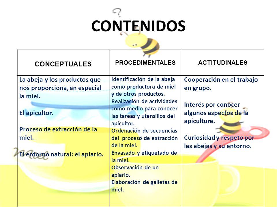 CONTENIDOS CONCEPTUALES PROCEDIMENTALESACTITUDINALES La abeja y los productos que nos proporciona, en especial la miel. El apicultor. Proceso de extra