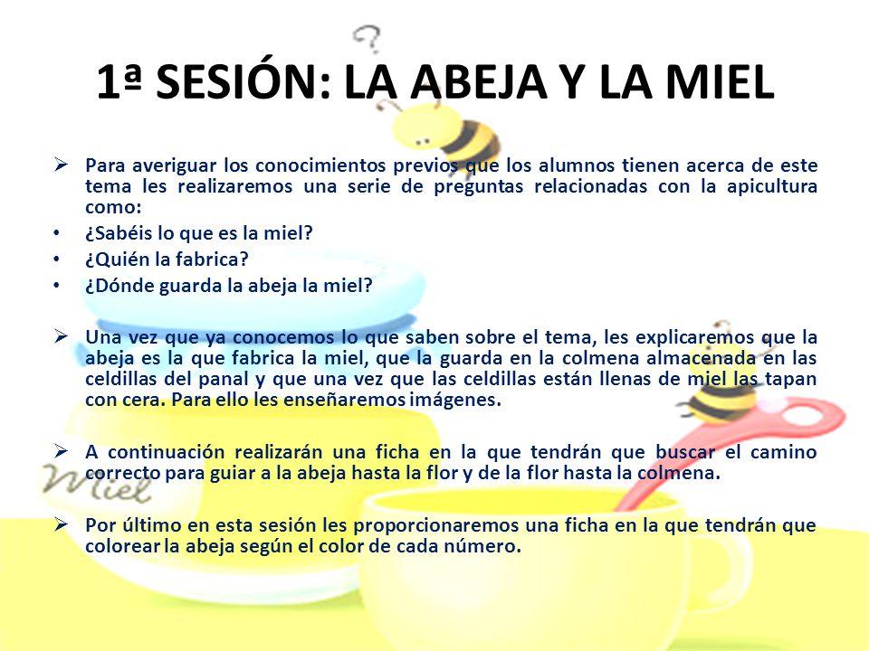 2ª SESIÓN: EL APICULTOR En esta sesión les explicaremos a los niños quién es el apicultor, a través de un mural, las tareas que realiza, en concreto la de extraer la miel, y que utensilios utiliza.
