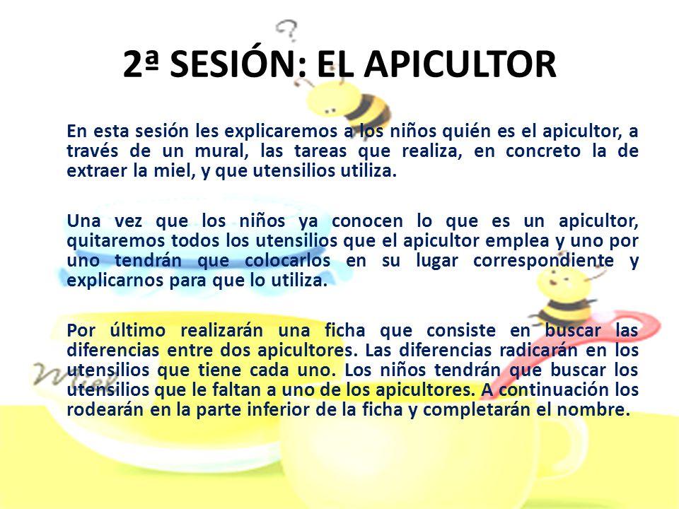 2ª SESIÓN: EL APICULTOR En esta sesión les explicaremos a los niños quién es el apicultor, a través de un mural, las tareas que realiza, en concreto l