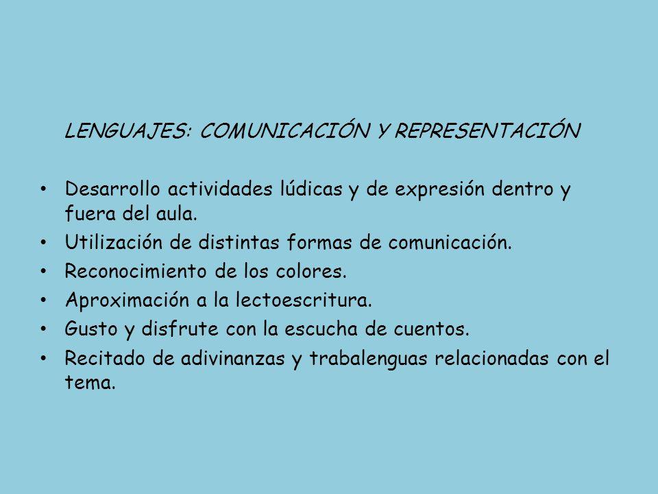 LENGUAJES: COMUNICACIÓN Y REPRESENTACIÓN Desarrollo actividades lúdicas y de expresión dentro y fuera del aula. Utilización de distintas formas de com