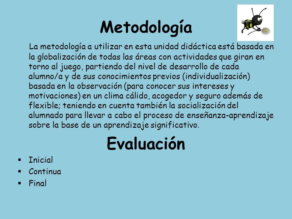 Metodología La metodología a utilizar en esta unidad didáctica está basada en la globalización de todas las áreas con actividades que giran en torno a