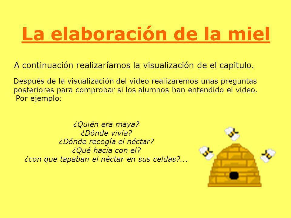 La elaboración de la miel A continuación realizaríamos la visualización de el capitulo. Después de la visualización del video realizaremos unas pregun