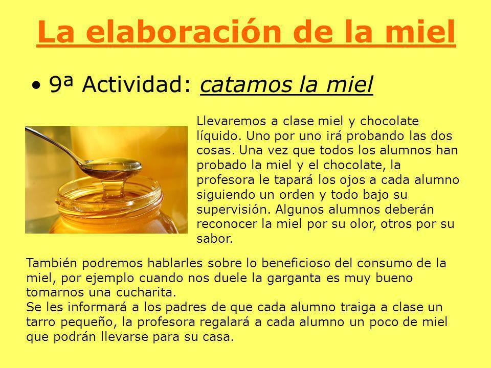 La elaboración de la miel 9ª Actividad: catamos la miel Llevaremos a clase miel y chocolate líquido. Uno por uno irá probando las dos cosas. Una vez q