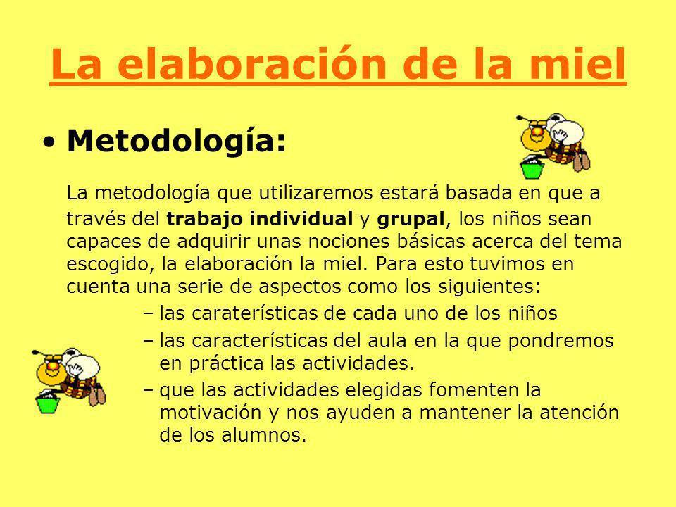 La elaboración de la miel Metodología: La metodología que utilizaremos estará basada en que a través del trabajo individual y grupal, los niños sean c