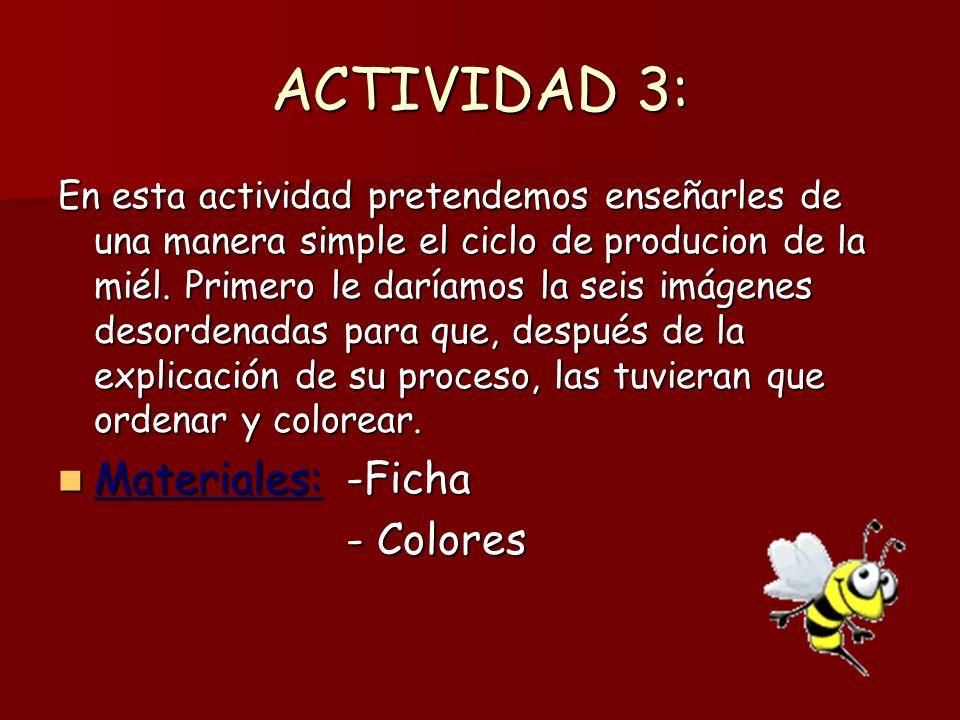 ACTIVIDAD 3: En esta actividad pretendemos enseñarles de una manera simple el ciclo de producion de la miél. Primero le daríamos la seis imágenes deso