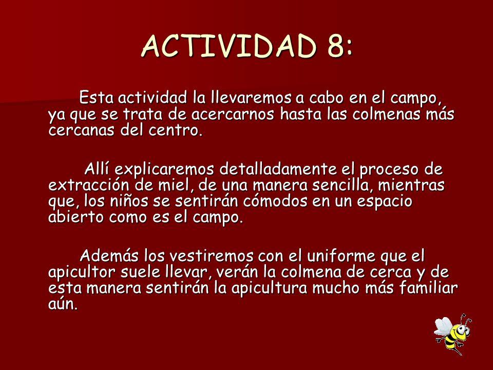 ACTIVIDAD 8: Esta actividad la llevaremos a cabo en el campo, ya que se trata de acercarnos hasta las colmenas más cercanas del centro. Allí explicare
