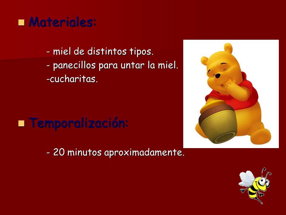 Materiales: Materiales: - miel de distintos tipos. - panecillos para untar la miel. -cucharitas. Temporalización: Temporalización: - 20 minutos aproxi