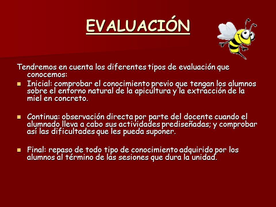 EVALUACIÓN Tendremos en cuenta los diferentes tipos de evaluación que conocemos: Inicial: comprobar el conocimiento previo que tengan los alumnos sobr