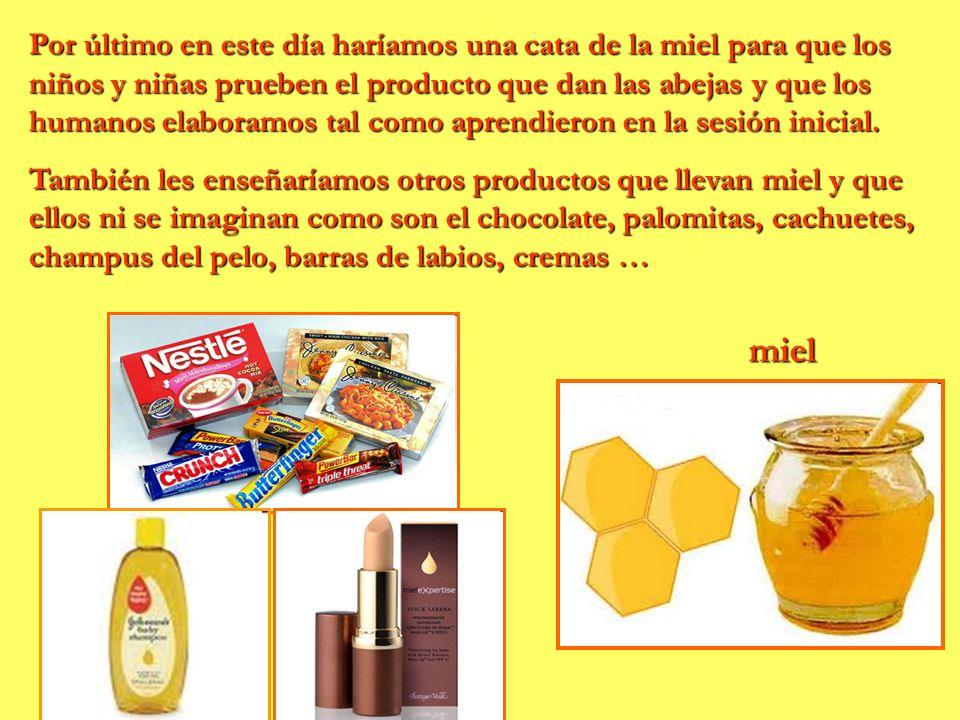 Por último en este día haríamos una cata de la miel para que los niños y niñas prueben el producto que dan las abejas y que los humanos elaboramos tal