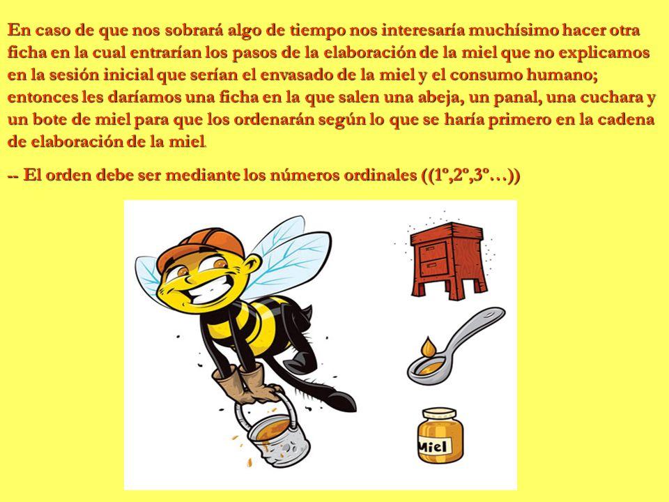 En caso de que nos sobrará algo de tiempo nos interesaría muchísimo hacer otra ficha en la cual entrarían los pasos de la elaboración de la miel que n