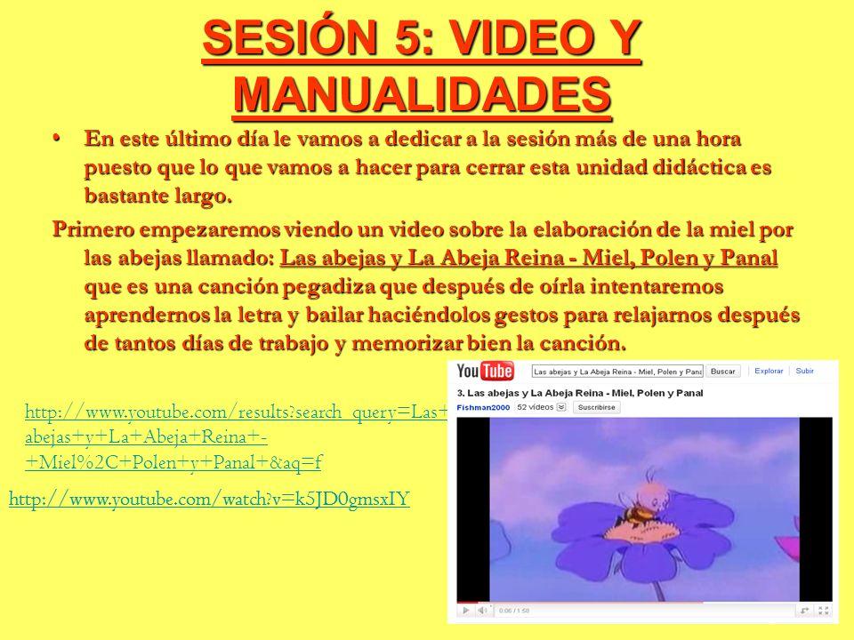 SESIÓN 5: VIDEO Y MANUALIDADES En este último día le vamos a dedicar a la sesión más de una hora puesto que lo que vamos a hacer para cerrar esta unid