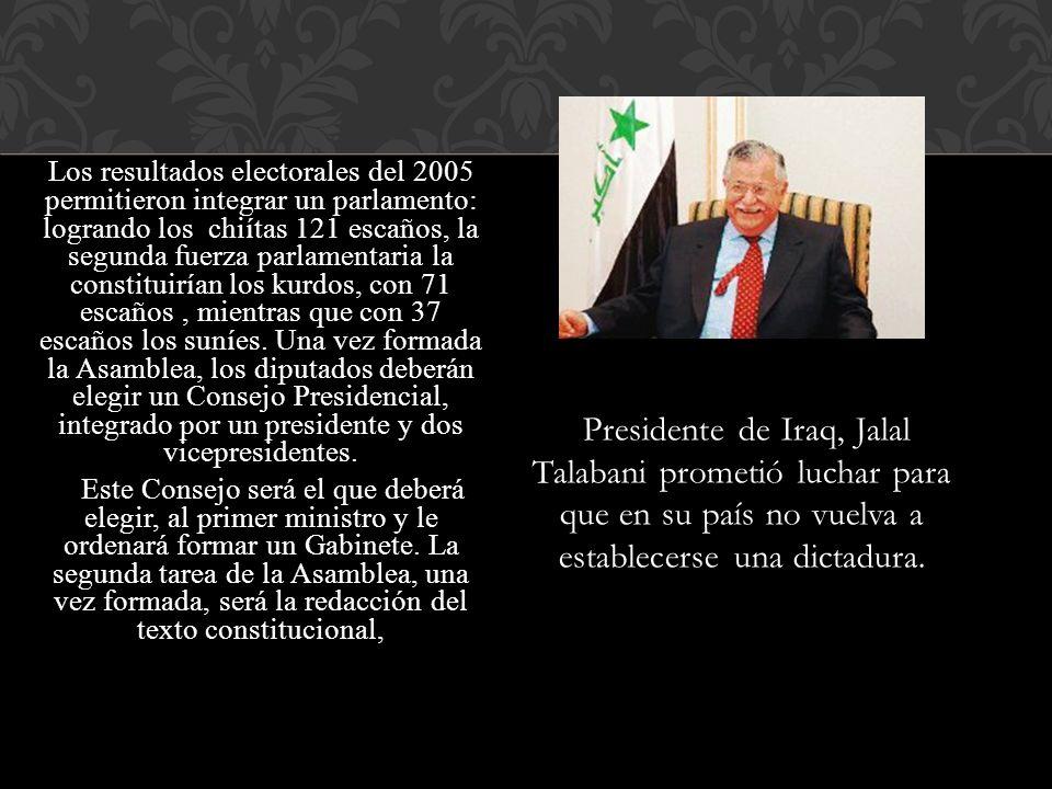 Los resultados electorales del 2005 permitieron integrar un parlamento: logrando los chiítas 121 escaños, la segunda fuerza parlamentaria la constitui