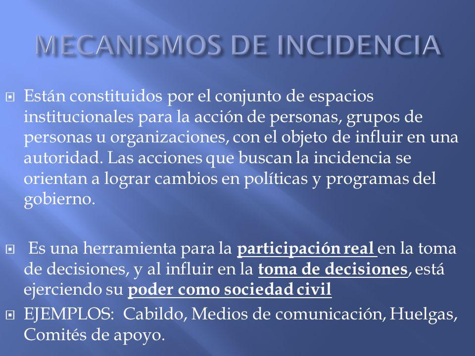 Están constituidos por el conjunto de espacios institucionales para la acción de personas, grupos de personas u organizaciones, con el objeto de influ