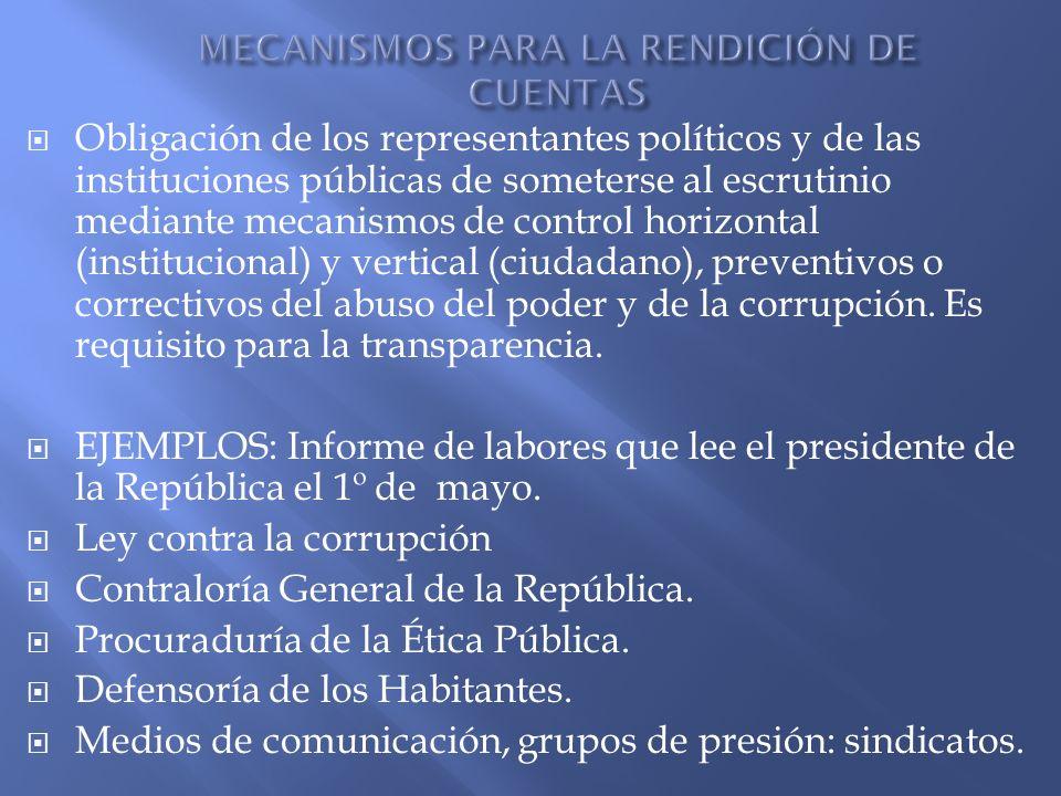 Obligación de los representantes políticos y de las instituciones públicas de someterse al escrutinio mediante mecanismos de control horizontal (insti