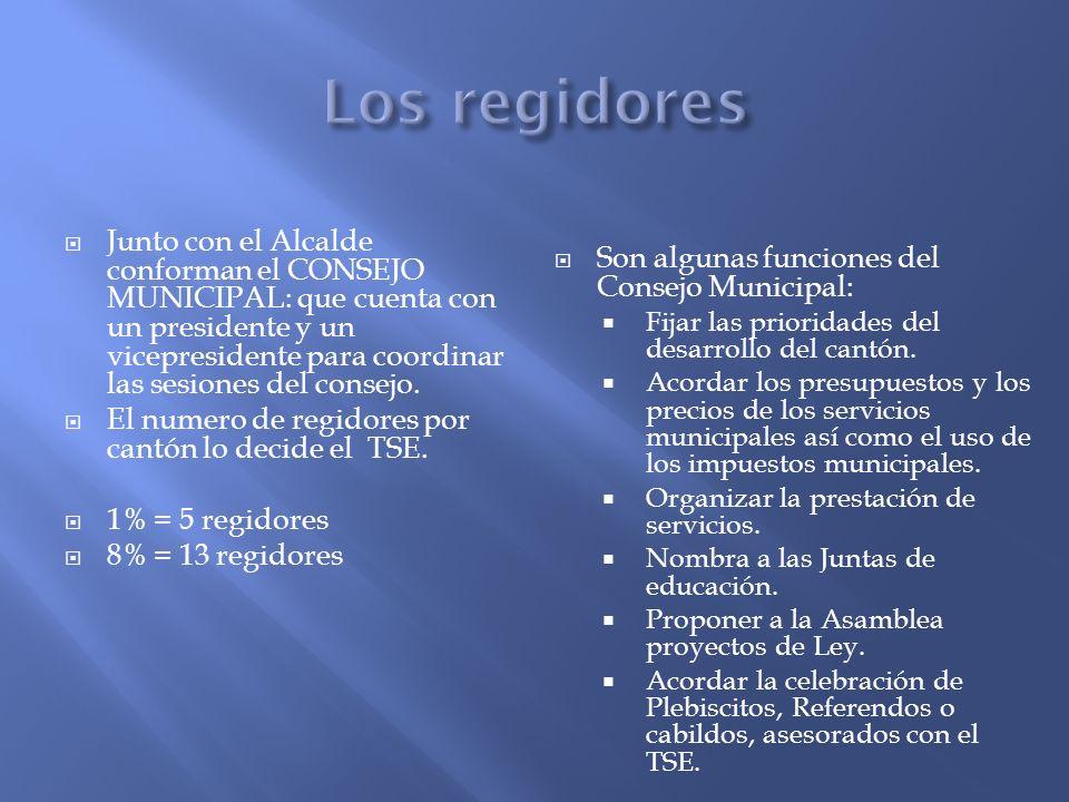 Junto con el Alcalde conforman el CONSEJO MUNICIPAL: que cuenta con un presidente y un vicepresidente para coordinar las sesiones del consejo. El nume