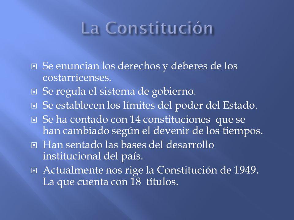 Se enuncian los derechos y deberes de los costarricenses. Se regula el sistema de gobierno. Se establecen los límites del poder del Estado. Se ha cont