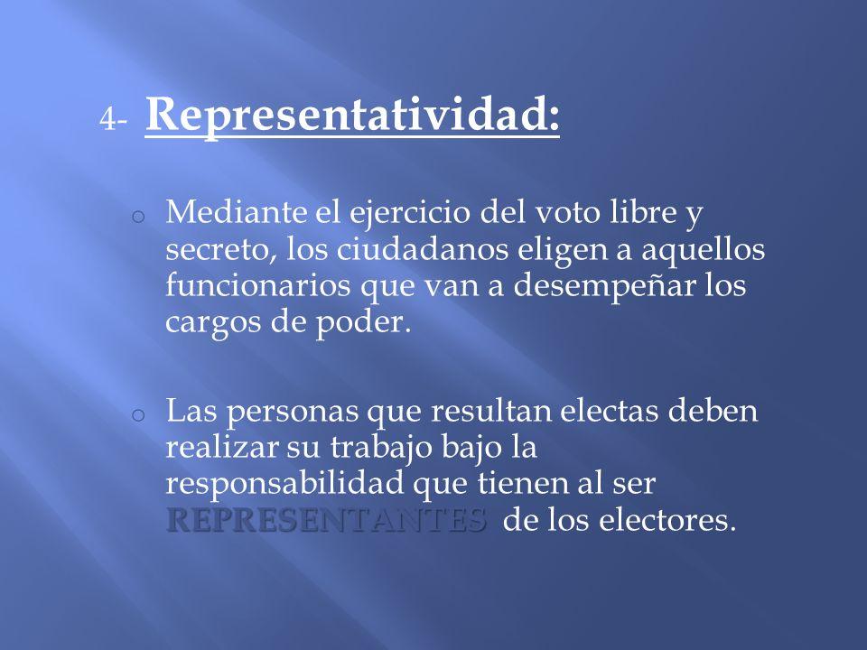 4- Representatividad: o Mediante el ejercicio del voto libre y secreto, los ciudadanos eligen a aquellos funcionarios que van a desempeñar los cargos