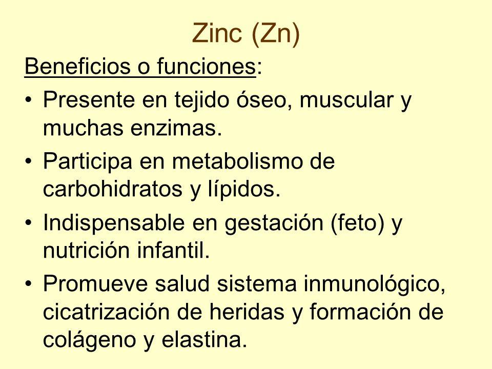 Zinc (Zn) Beneficios o funciones: Presente en tejido óseo, muscular y muchas enzimas. Participa en metabolismo de carbohidratos y lípidos. Indispensab
