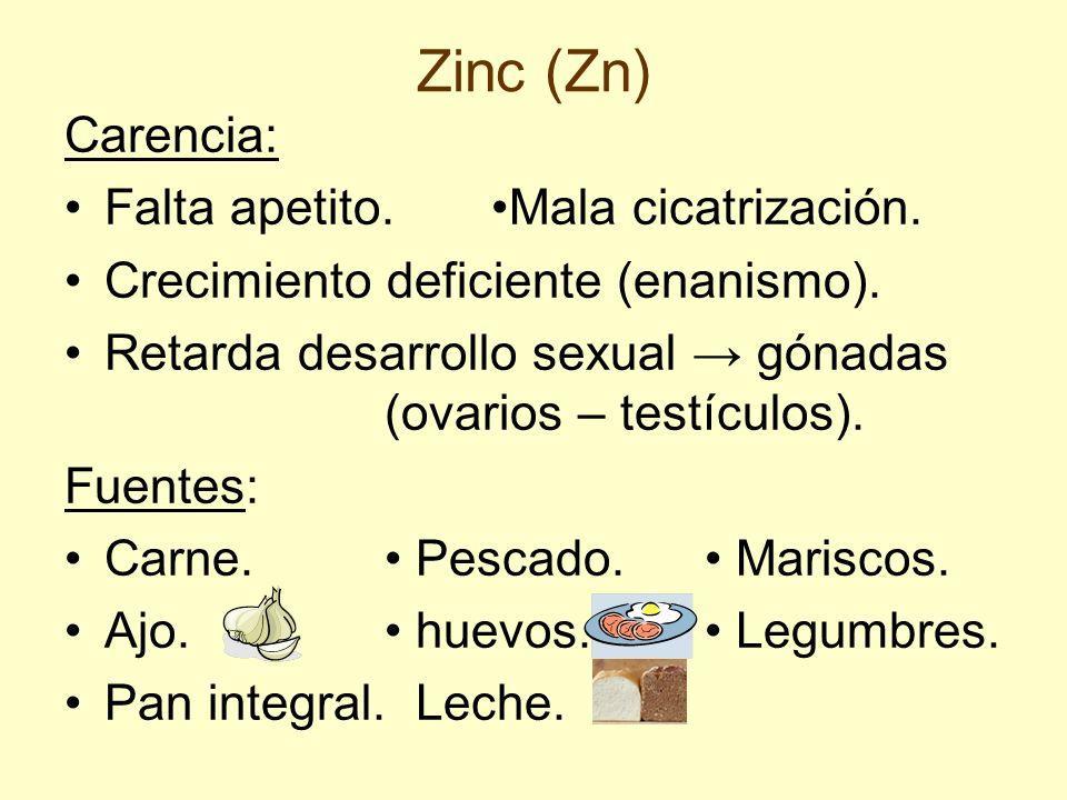 Zinc (Zn) Carencia: Falta apetito.Mala cicatrización. Crecimiento deficiente (enanismo). Retarda desarrollo sexual gónadas (ovarios – testículos). Fue