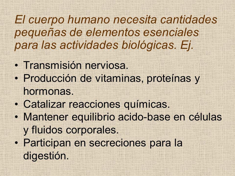 El cuerpo humano necesita cantidades pequeñas de elementos esenciales para las actividades biológicas. Ej. Transmisión nerviosa. Producción de vitamin