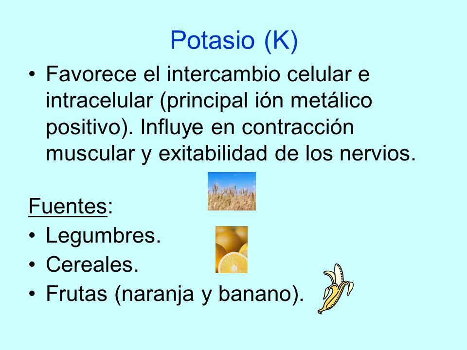 Potasio (K) Favorece el intercambio celular e intracelular (principal ión metálico positivo). Influye en contracción muscular y exitabilidad de los ne