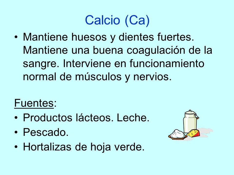 Calcio (Ca) Mantiene huesos y dientes fuertes. Mantiene una buena coagulación de la sangre. Interviene en funcionamiento normal de músculos y nervios.
