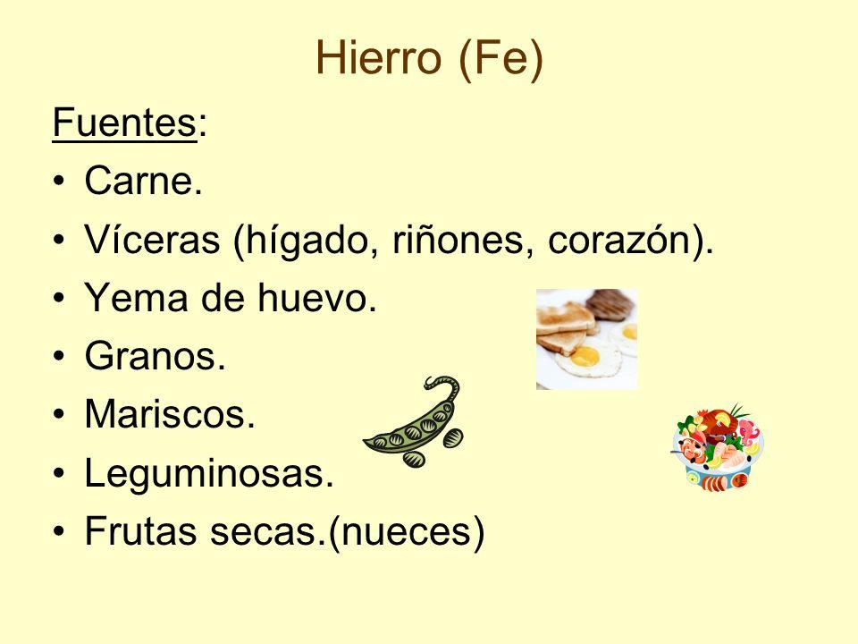 Hierro (Fe) Fuentes: Carne. Víceras (hígado, riñones, corazón). Yema de huevo. Granos. Mariscos. Leguminosas. Frutas secas.(nueces)