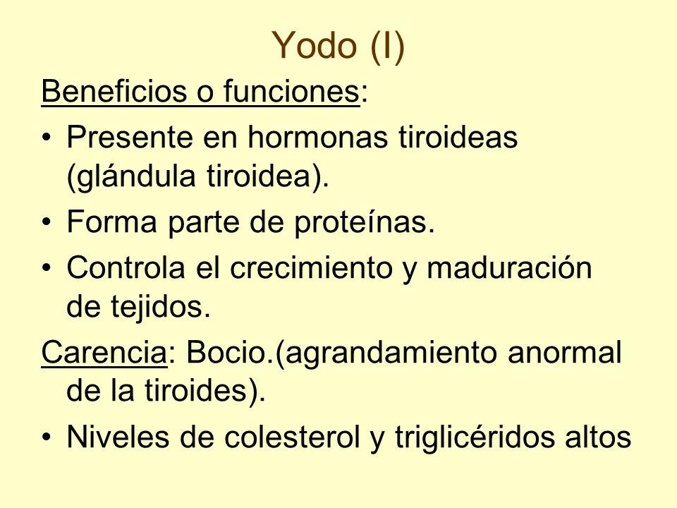 Yodo (I) Beneficios o funciones: Presente en hormonas tiroideas (glándula tiroidea). Forma parte de proteínas. Controla el crecimiento y maduración de