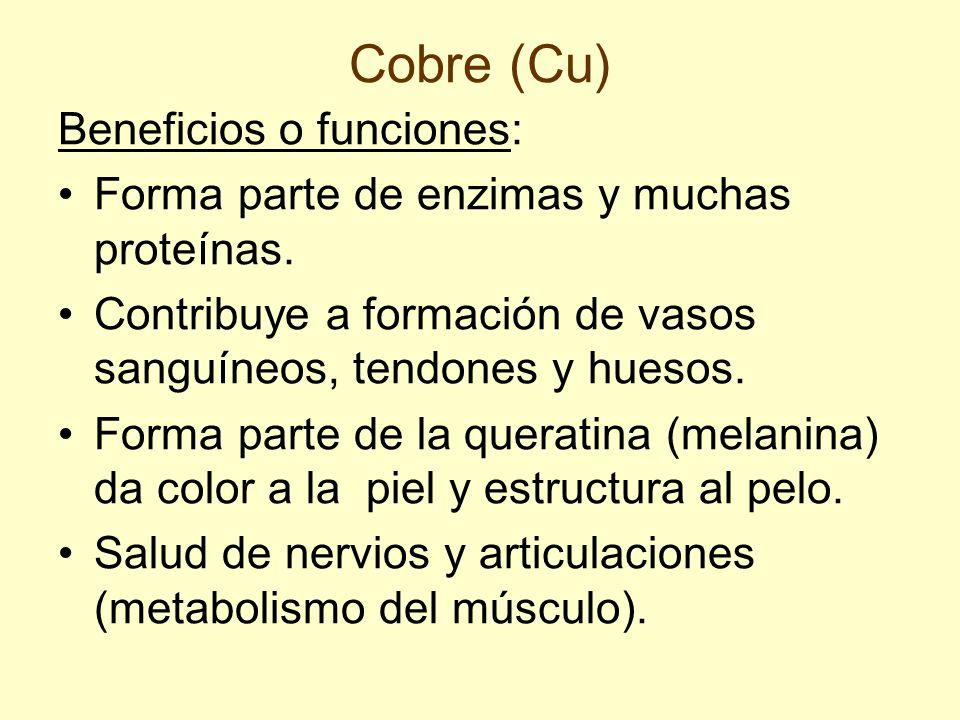 Cobre (Cu) Beneficios o funciones: Forma parte de enzimas y muchas proteínas. Contribuye a formación de vasos sanguíneos, tendones y huesos. Forma par