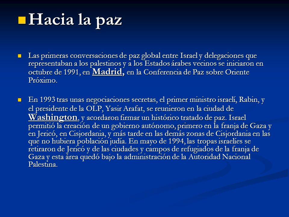 Tras el asesinato de Isaac Rabin, (1995 ) Tras el asesinato de Isaac Rabin, (1995 ) las negociaciones entraron de nuevo las negociaciones entraron de nuevo en un punto muerto.