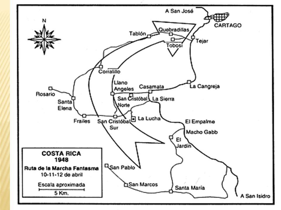 1948: José Figueres en La Lucha 1947: Carro de la policía militar recorre la ciudad de San José, durante la Huelga de brazos caídos 1948: batalla de San Isidro del General
