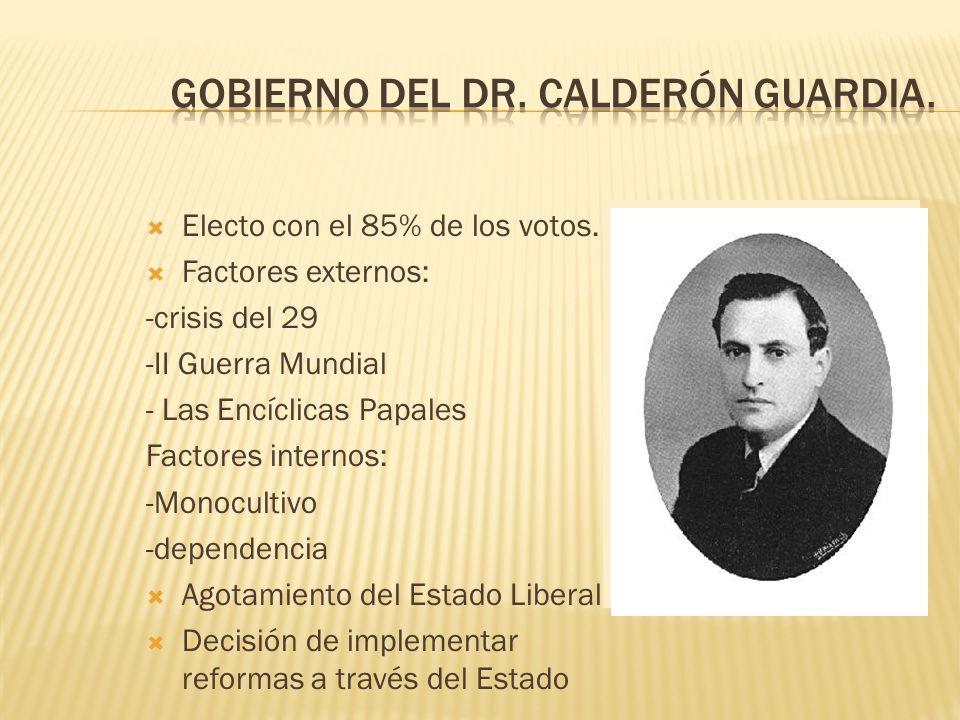 Electo con el 85% de los votos. Factores externos: -crisis del 29 -II Guerra Mundial - Las Encíclicas Papales Factores internos: -Monocultivo -depende
