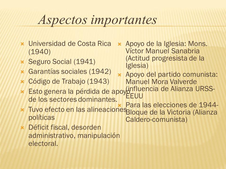 Universidad de Costa Rica (1940) Seguro Social (1941) Garantías sociales (1942) Código de Trabajo (1943) Esto genera la pérdida de apoyo de los sector