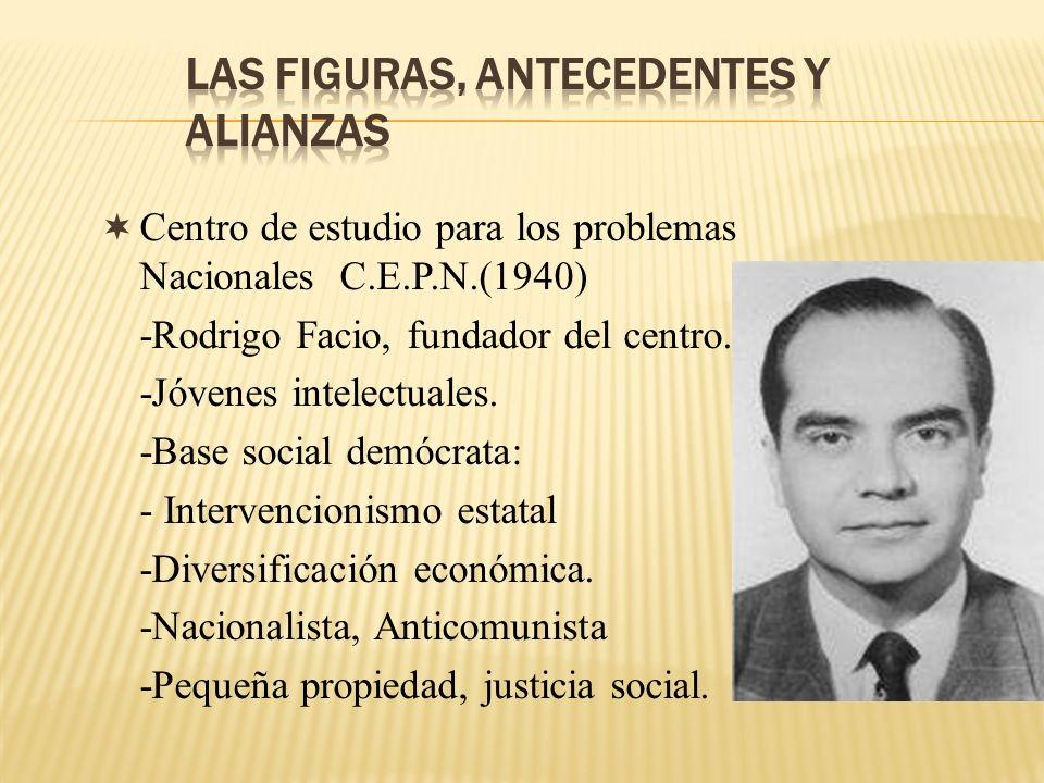 Centro de estudio para los problemas Nacionales C.E.P.N.(1940) -Rodrigo Facio, fundador del centro. -Jóvenes intelectuales. -Base social demócrata: -