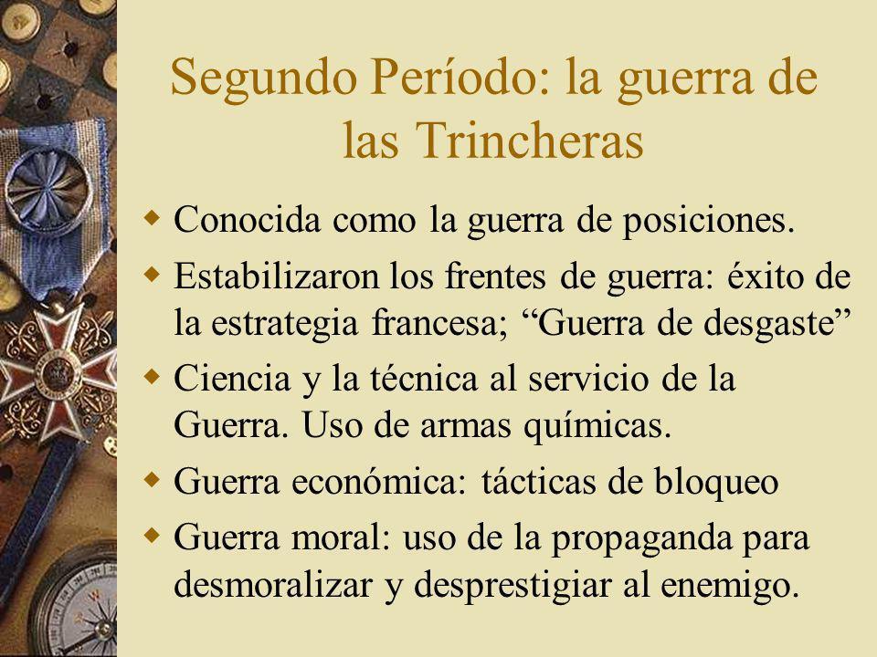 Segundo Período: la guerra de las Trincheras Conocida como la guerra de posiciones.
