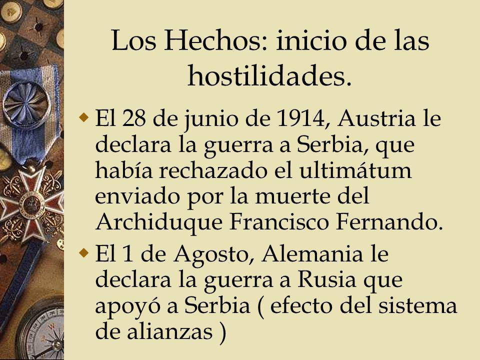 Los Hechos: inicio de las hostilidades. El 28 de junio de 1914, Austria le declara la guerra a Serbia, que había rechazado el ultimátum enviado por la