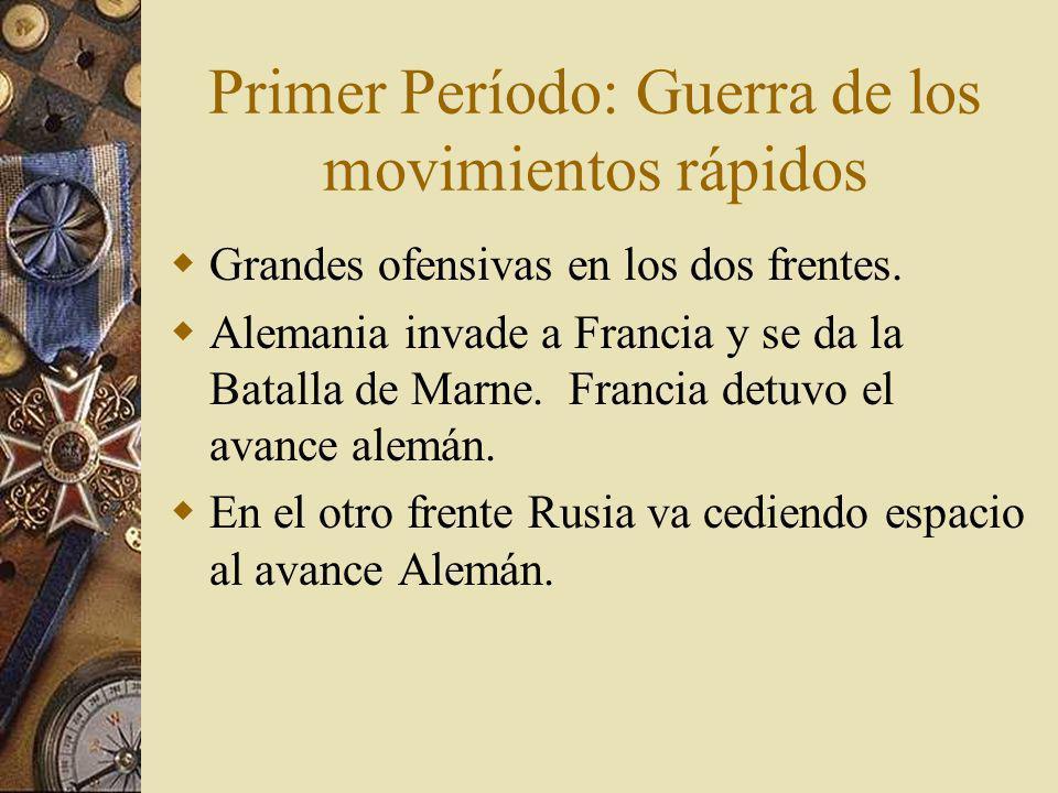 Primer Período: Guerra de los movimientos rápidos Grandes ofensivas en los dos frentes.