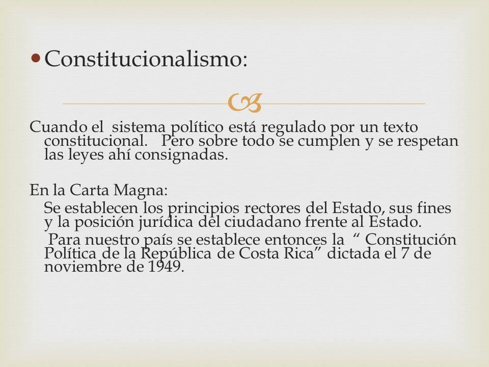 Constitucionalismo: Cuando el sistema político está regulado por un texto constitucional. Pero sobre todo se cumplen y se respetan las leyes ahí consi